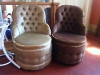 Pair of Genuine Vintage Sherborne Boudoir Salon Velvet Chairs / Perfect Clean Condition