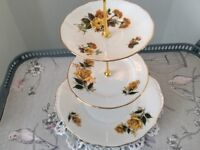 Yellow Floral Bone China 3 Tier Cake Stand
