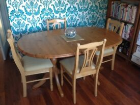 4 solid beech dining room chairs