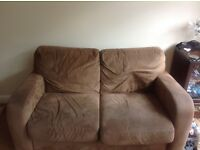 Brown suedette 3 seater and 2 seater sofa, good condition