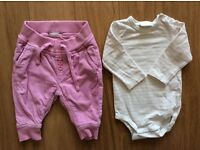 Baby girl, bundle or individual, bodysuits and trousers. Size 2-4m & 1-2m. Scandinavian brand.