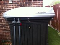 Halfords 470l silver car roof box & bars & keys used three times reason for sale changed car.