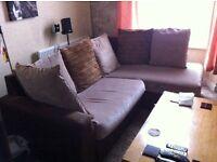 L Shape Corner Sofa, Two Tones