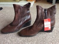 Clarks Soft Boots, Brown Leather - Size 5, Brand New
