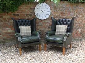 Pair of Hunter Green wingback Chesterfield armchairs. Can deliver. VGC.