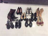 10 pairs! bundle of size 5 shoes, heels, Dune boots, pumps, flats, sandals. Some never been worn