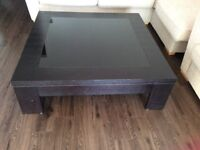 LARGE SQUARE DARK WOOD AND GLASS COFFEE TABLE