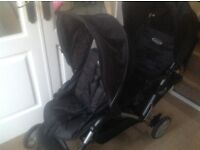 Black, Tandem double Buggy by Graco