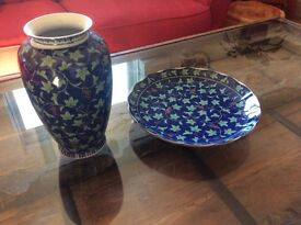 Blue and Green Chinese Plate and Vase