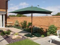 Garden umbrella ,stand and 6 cushions