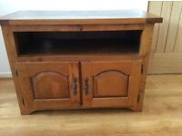 Oak hardwood TV cabinet.