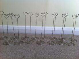 15 Heart shaped table number holders