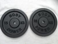 2 x 15kg Bodypower Standard Cast Iron Weights