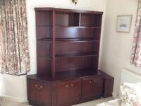 Dark wood cabinets, 2 glazed cabinets, 1 book shelf/display cabinet and 1 sideboard