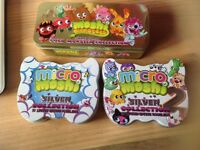 Moshi Monsters various figs in gold limited edition tin, Micro Moshi Monsters collectors tin 1 & 2
