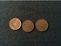 3 Halfpence Coins