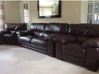 Brown Leather Three Piece Suite.
