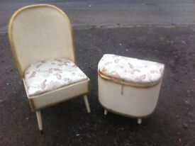 Vintage loom bedroom chair with underseat storage box and matching mini ottoman