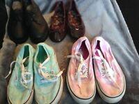 Bundle of girls shoes junior size 2, including vans