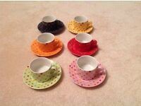 Classic coffee and tea company spotty tea cups and saucers