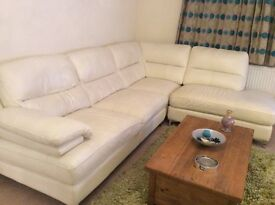 Cream leather corner unit with chair