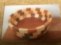Cambridge Ware wooden chequered vintage bowl
