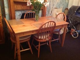 Solid pine dining table and six matching beech chairs