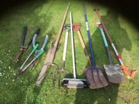 Lots of gardening tools
