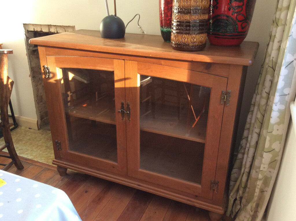 Glass fronted 2 door Marks & Spencer French Pine display cabinet