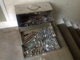 Stainless Steel tool box 2 drawers sockets spanners