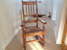 Pine rocking chair with woven rush seat