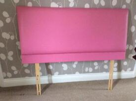 4ft Pink Leather Effect Headboard