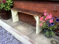 rustic reclaimed garden bench aprox 4ft very heavy- reclaimed wood protected weather proof paint