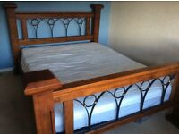 King Size Solid Wood & Metal Slatted Bed Frame