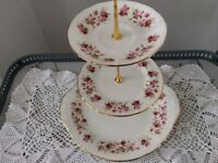 Colclough Bone China 3 Tier Cake Stand. Pink Floral.