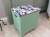 Vintage green sewing box/craft/knitting storage/stool hinged lid
