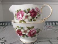 Queen Anne Bone China Milk Jug and Sugar Bowl. Red / Pink Floral
