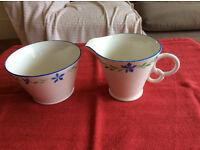 Osborne bone china milk jug and sugar bowl