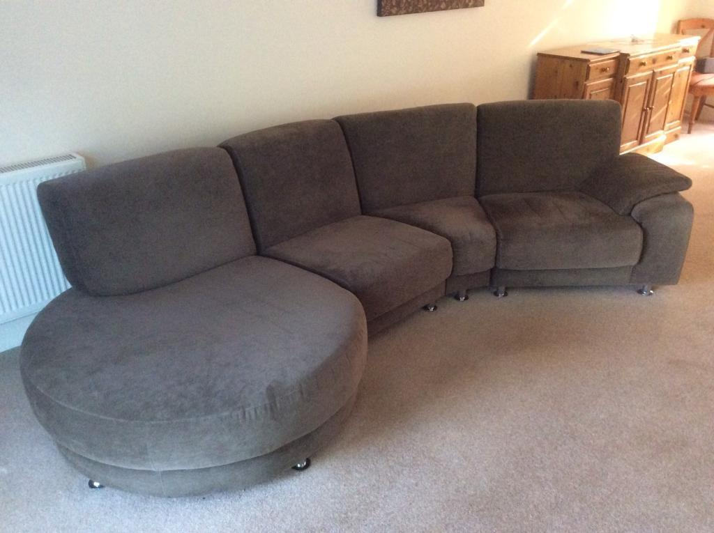 Large 4 Seater Fabric Sofa With Round Chaise End