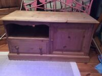 Solid pine (unvarnished) TV unit with storage