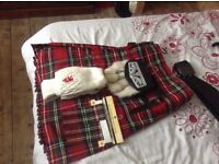Royal Stuart kilt for sale. Excellent condition with leather belt, sporran, socks, flashes and pin.