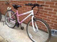 2 ladies bikes one with child seat