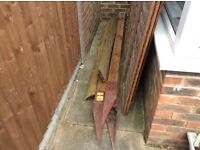Fencing panels, wooden posts & gravel boards - used