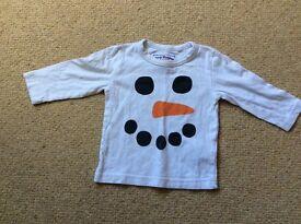 Baby boys Next Snowman Christmas top 6-9 months