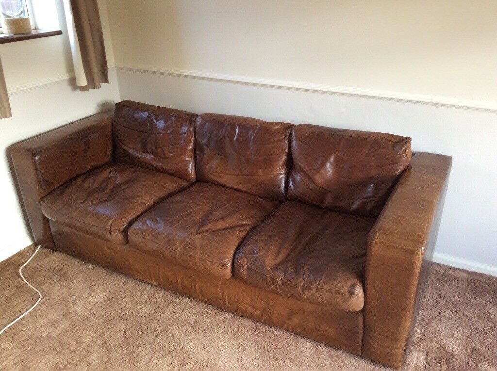 Leather Sofa Shabby Chic