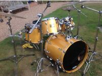 Pearl Masters Studio 4 piece She'll pack plus Gretch chrome on brass Snare
