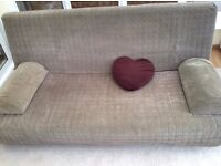 IKEA Three seat sofa bed BEDDINGE LOVAS in Beige/Brown with storage box and cushions