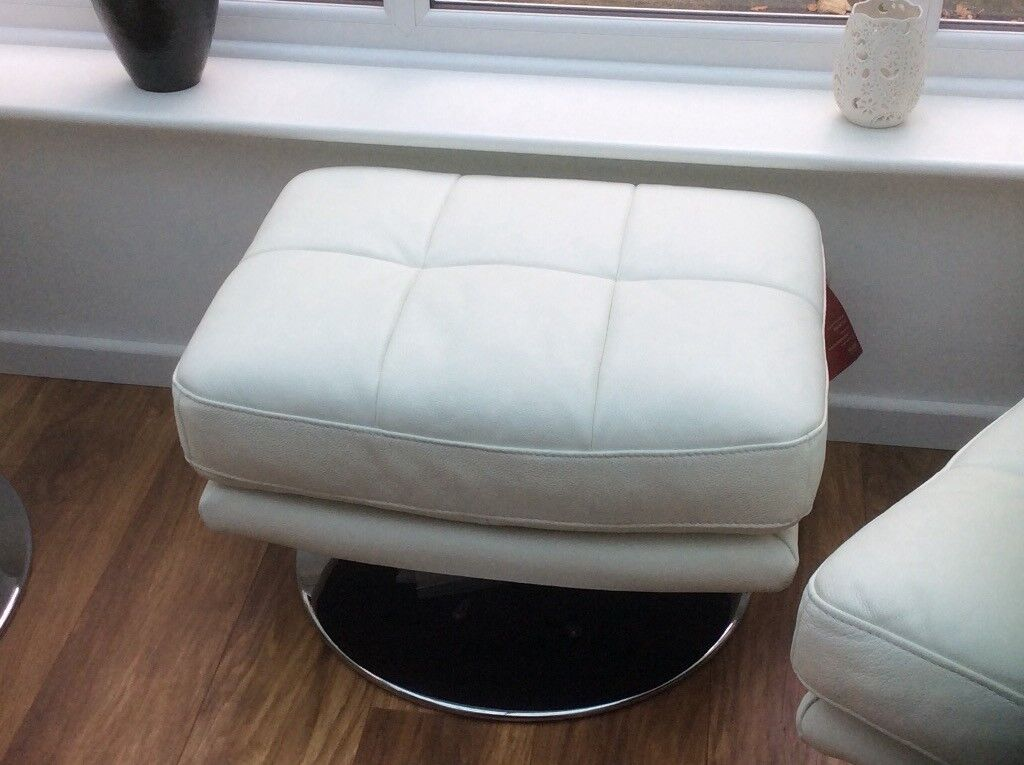 White leather foot stool (new)