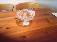 Embossed stemmed glass bowl