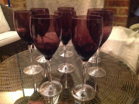 8 No Hand blown coloured 'The Glass Collection' wine glasses